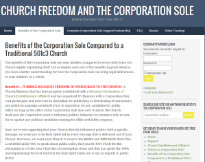 "This is the webpage being analyzed. Click the above image to go to the ""Church Freedom and the Corporation Sole"" website"