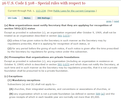 Internal Revenue Code Section 508. Click image above to go directly to 508.