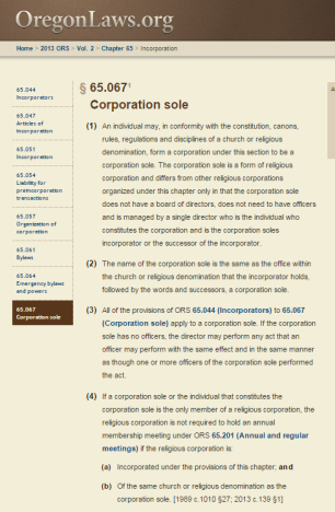 Oregon Revised Statutes Section 65.067. Click the above image to go directly to statute.