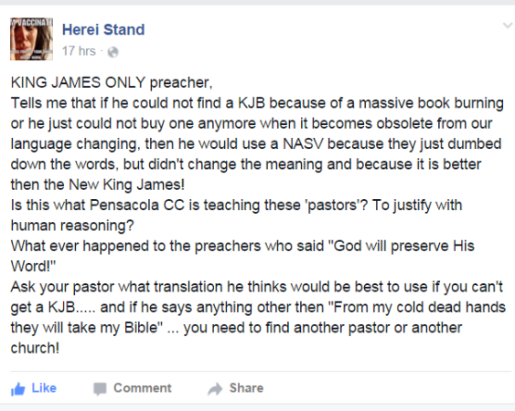 Another ridiculous argument against the King James Bible refuted on Facebook.